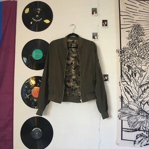navy green/camo reversible bomber jacket